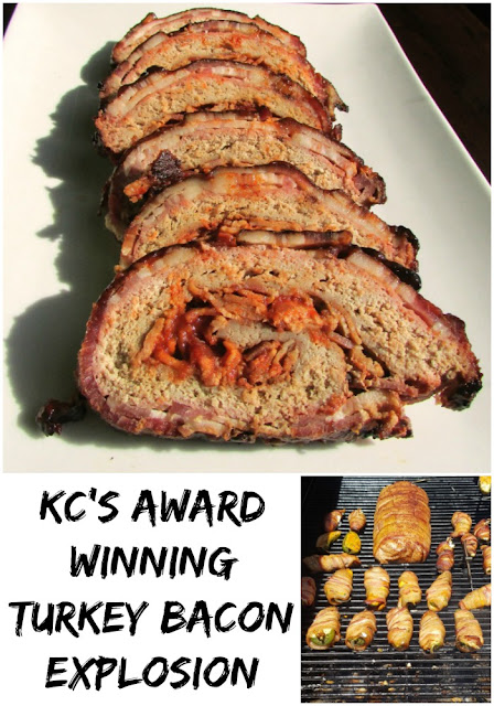 This bacon explosion is for the birds! It is made with turkey instead of pork. It's almost like a yummy jazzed up and rolled up meatloaf that is smoked to yummy perfection.
