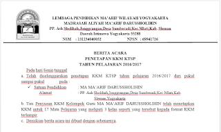 Contoh Surat Berita Acara Penetapan KKM KTSP MA