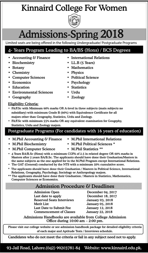 Admissions Open in Kinnaird College for Women At Lahore