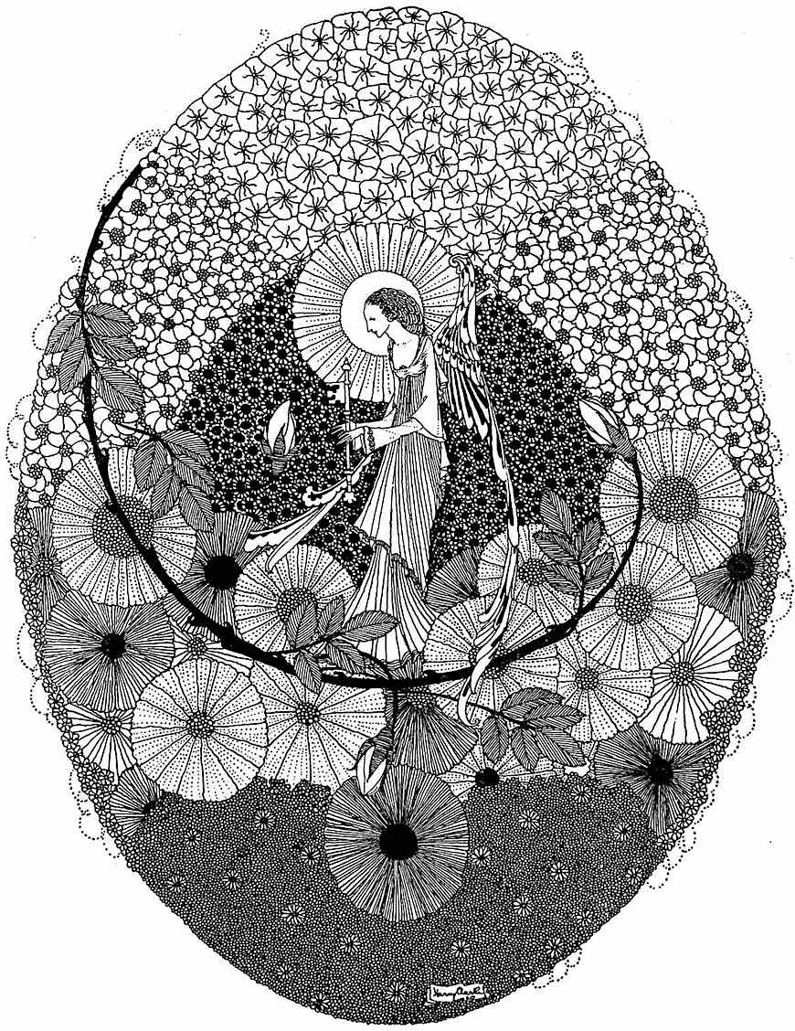 "a Harry Clarke illustration from ""The Years at the Spring""  1920"