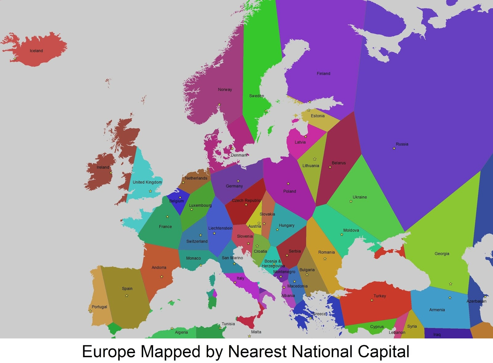 Europe Mapped by Nearest National Capital