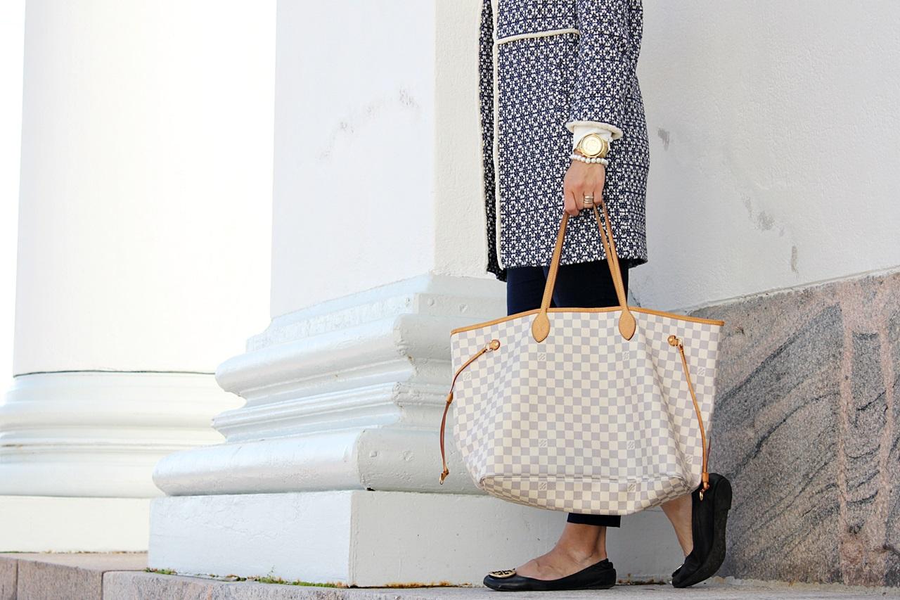 Zara Blue Coat Zara takki Louis Vuitton Never Full Azur GM