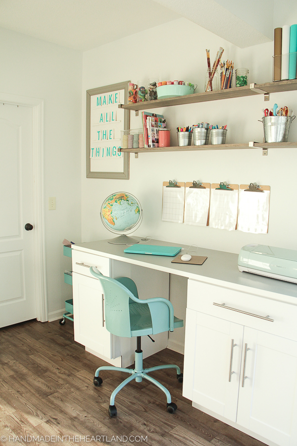 white and aqua office and craft room
