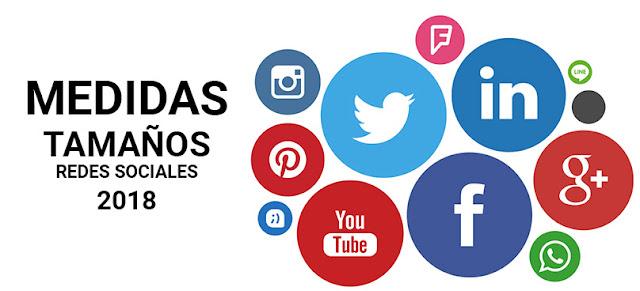 medidas tamaños redes sociales 2018