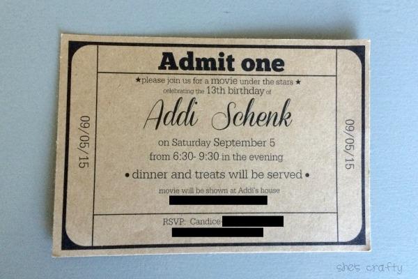 movie ticket, birthday party, invitation