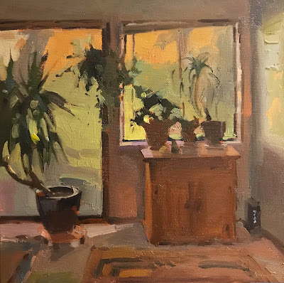 art oil painting interior scene houseplants by sarah sedwick