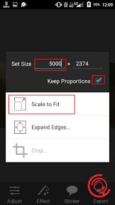 Nah disinilah menu untuk membuat foto dan gambar menjadi HD yang awalnya belum HD, tidak jelas ataupun pecah-pecah. Silakan kalian centang Keep Proportions lalu kemudian isikan angka depan Set  Size 5000 dan yang belakang akan mengikuti secara otomatis ukuran yang pas seperti apa. Terakhir pilih Scale to Fit