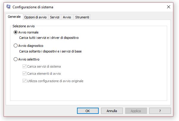 configurazione sistema e opzioni avvio windows 10