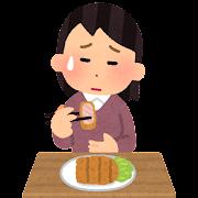 胃もたれのイラスト(女性)
