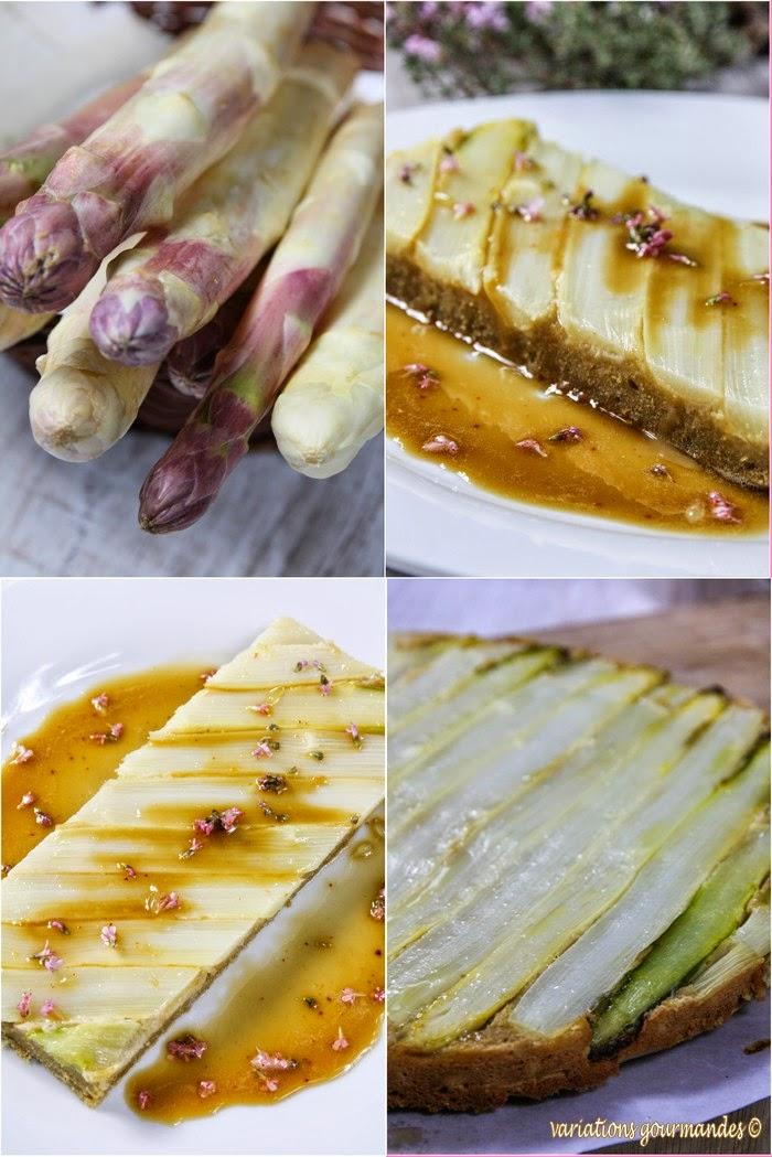 asperges , amandes,farine complète, noisettes, huile d'olive, mascarpone,thym, légumes, thym,entrée