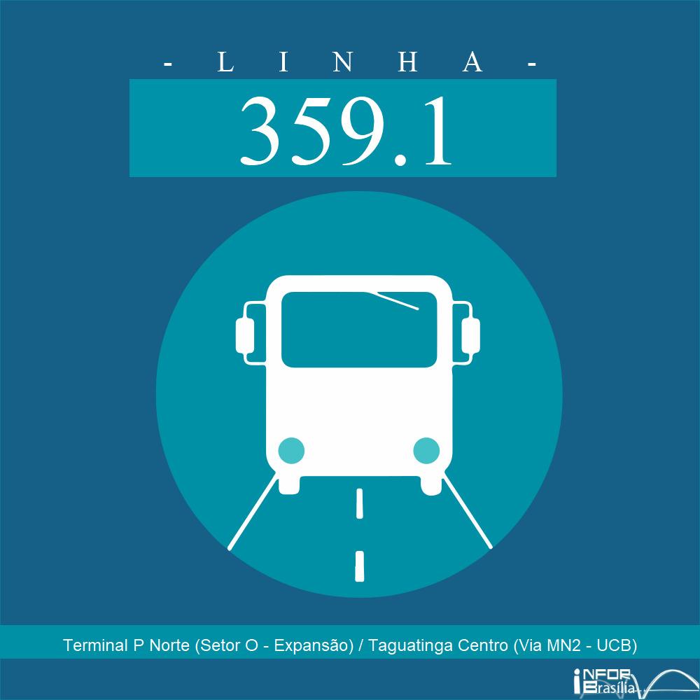 Horário de ônibus e itinerário 359.1 - Terminal P Norte (Setor O - Expansão) / Taguatinga Centro (Via MN2 - UCB)