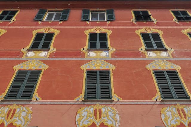 Trompe l'oeil building facade on Piazza Mazzini in Chiavari, Liguria