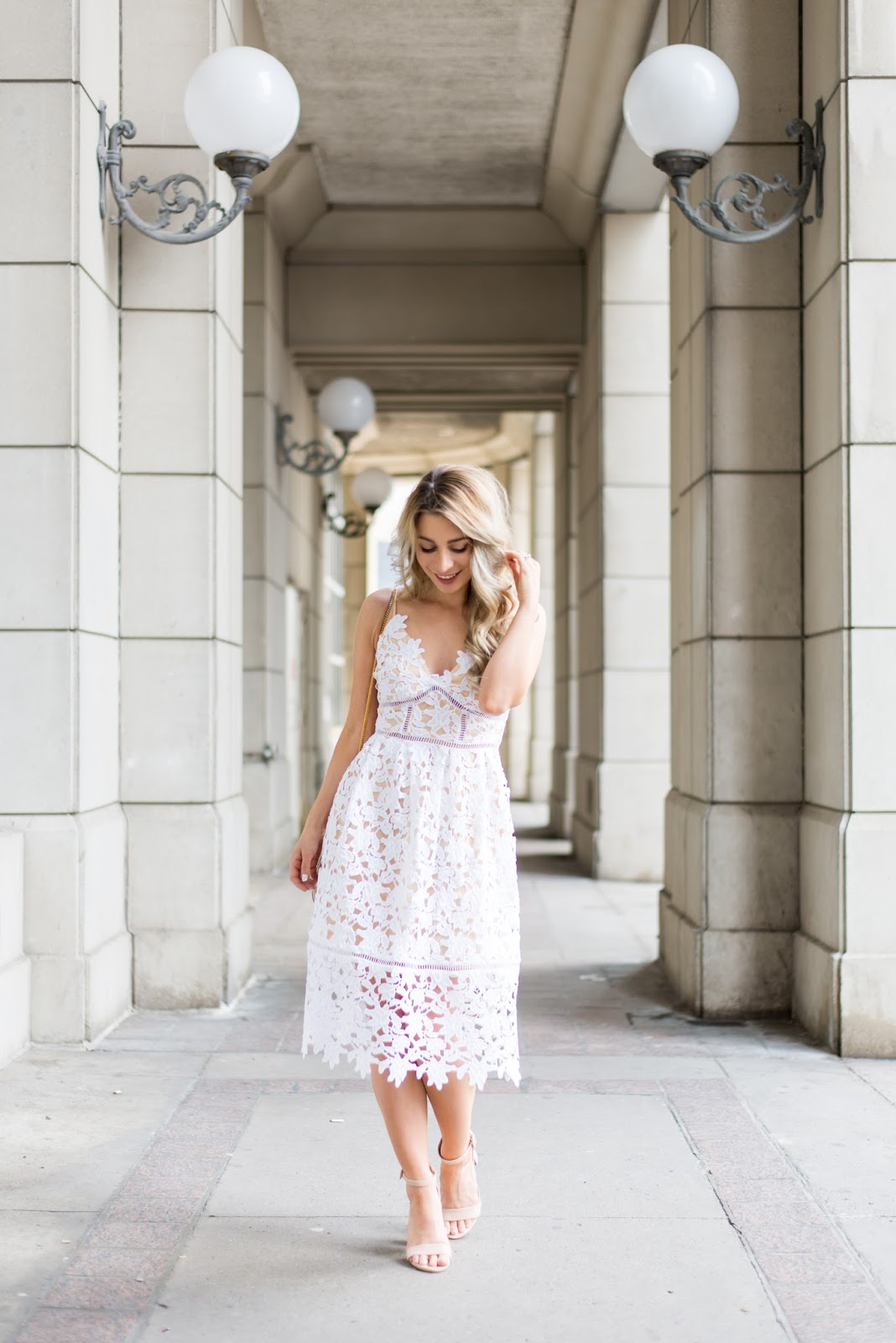 guess white lace midi dress spring summer 2017 outfit