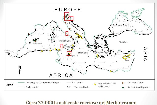 Mappa delle coste del Mediterraneo