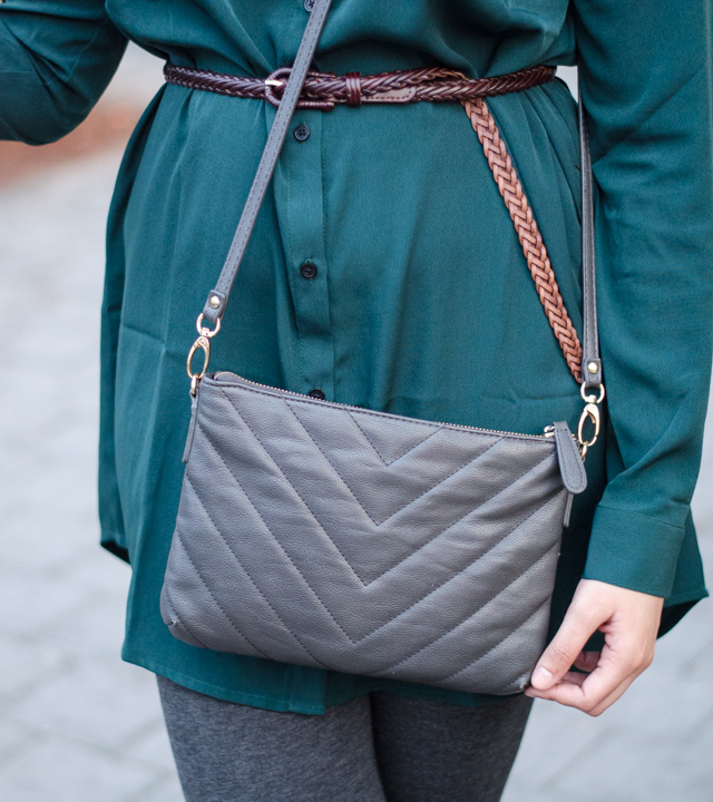 Grey Chevron Leather Sling Bag
