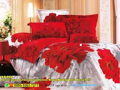 Sprei Custom Katun Jepang Dewasa Bunga Wedding Bliss Merah Putih