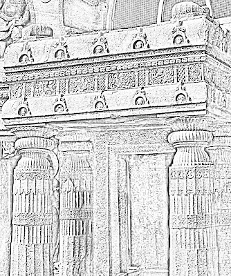 sketch of entrance to temple
