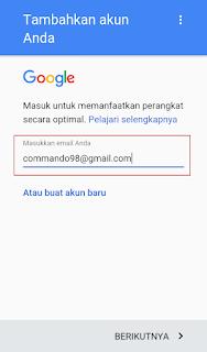 penambahan akun baru google