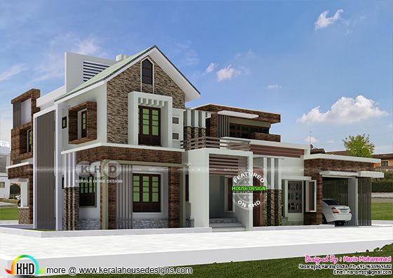 2552 square feet 4 bedroom modern mix roof house plan