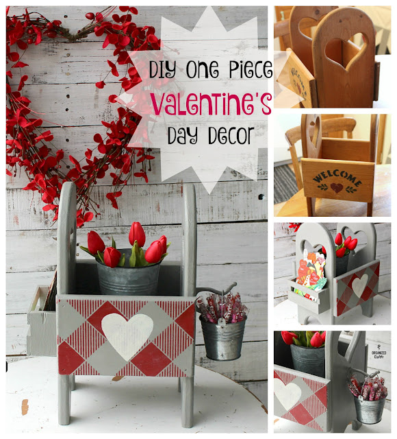 DIY One Piece Valentine's Day Decor From Thrifted Finds #valentinesday #oldsignstencils #buffalocheck #upcycle #repurpose #thriftshopmakeover