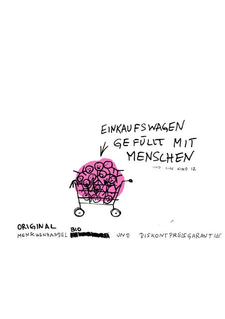 Dr. Kristian Stuhl 2012, Einkaufswagen gefüllt mit Menschen,  Das Klo spült alles fort, A4