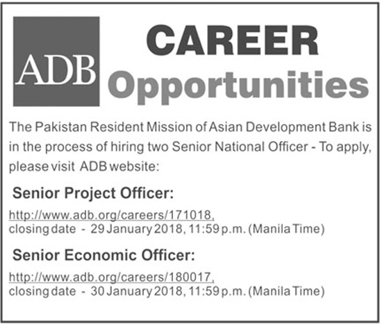 Asian Development Bank ADB jobs Jan 2018