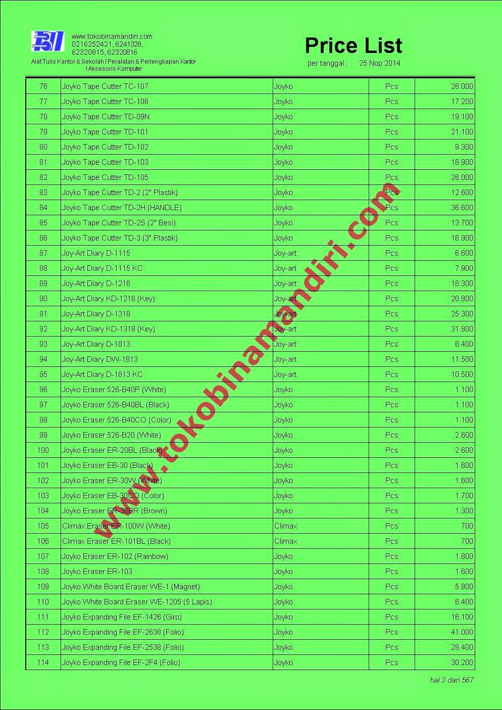 Daftar Harga ATK Joyko Tape Cutter, Diary, Eraser dll