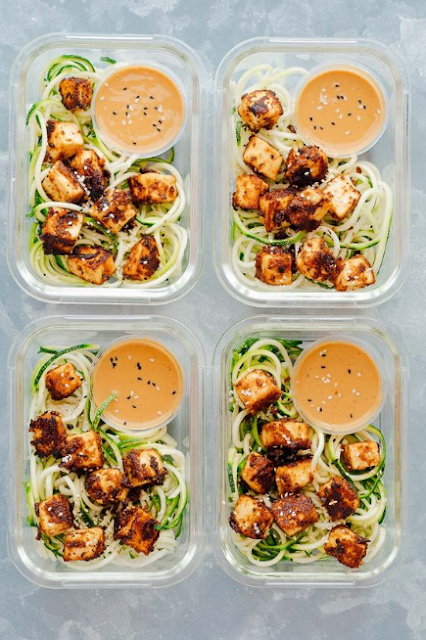 Crispy Sesame Tofu with Zucchini Noodle (Vegetarian Meal Prep)