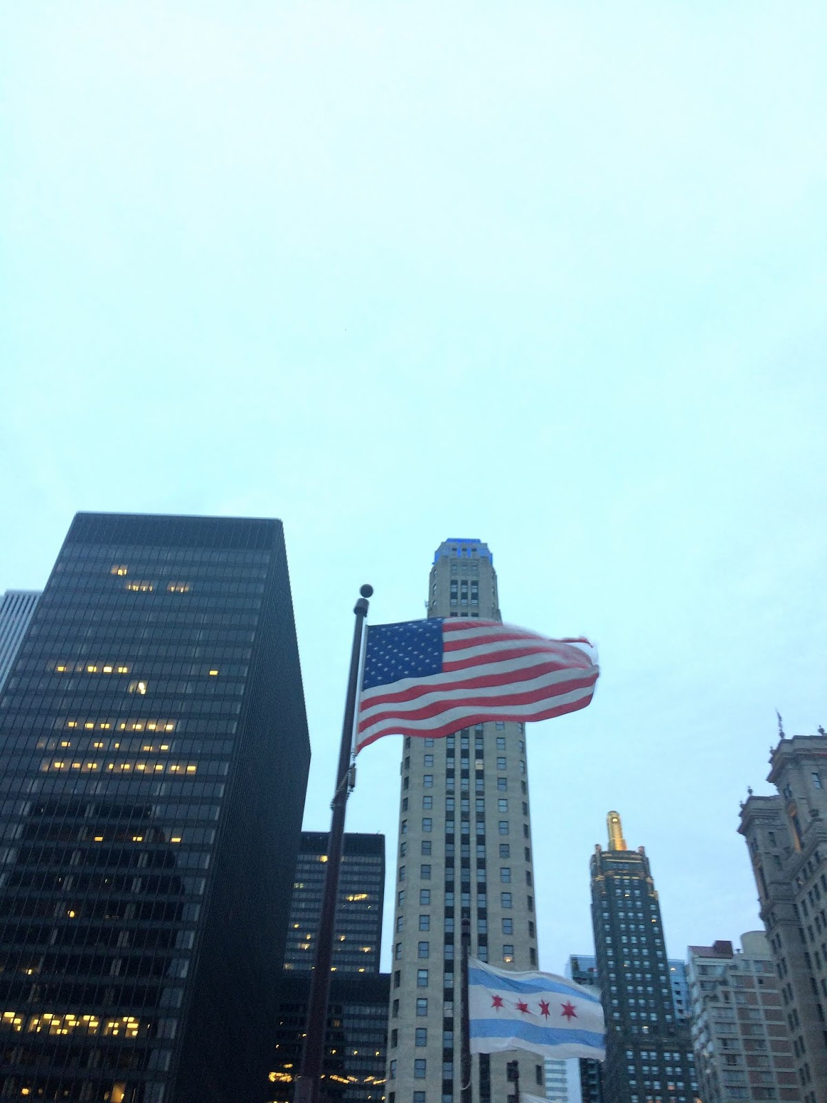 Upwards view of an american flag in the wind