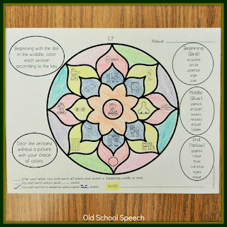 Colored Mandala on paper with pictures, list of words,  and instructions