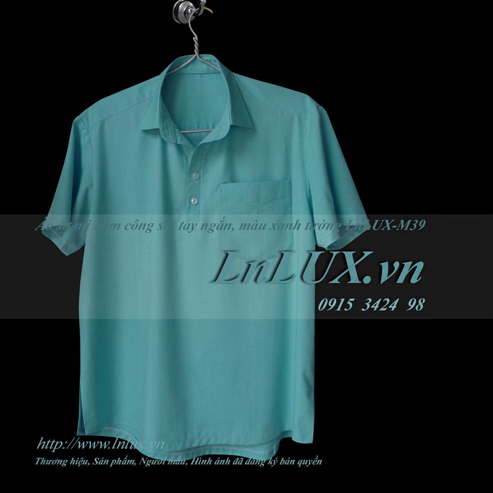lnlux.vn-ao-so-mi-nam-cong-so-tay-ngan-mau-xanh-tuong-lnlux-m39-truoc