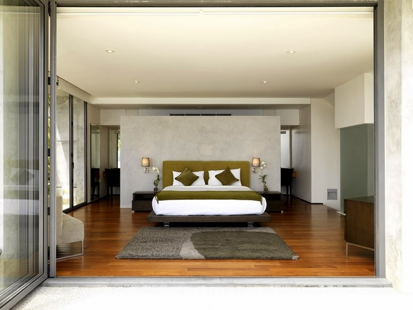 Bedroom in Villa with contemporary Asian design