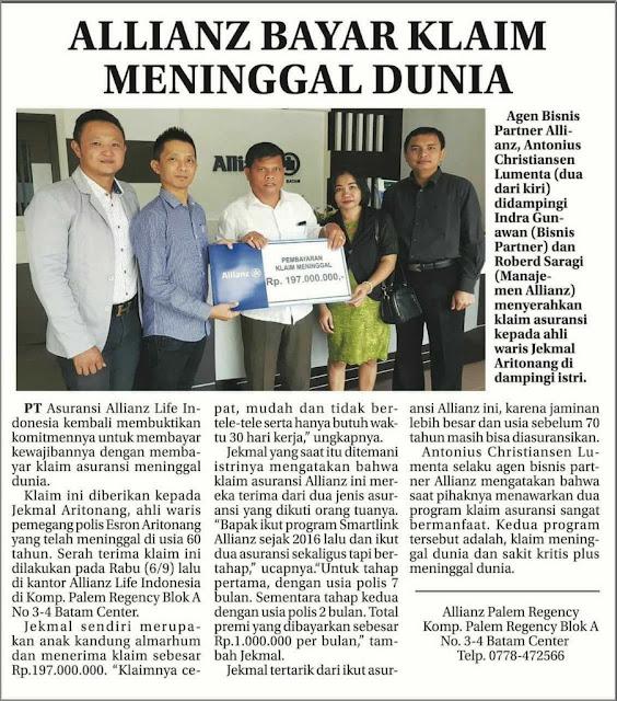 bukti pembayaran klaim meninggal dunia asuransi allianz life indonesia
