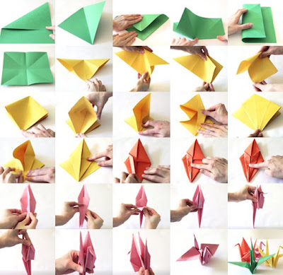 Paso a paso para hacer  Grullas de papel,  origami o papiroflexia