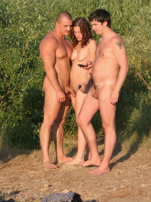 Couples nude on beach