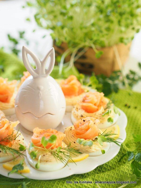 jajka z lososiem i chrzanem, jajka wielkanocne, jajo z ryba, losos wedzony, sniadanie wielkanocne, wielkanoc