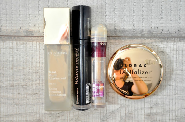 podkład clarins extra firming, tusz do rzęs bourjois volume reveal, korektor maybelline instant anti-age the eraser eye, bronzer lorac tantalizer
