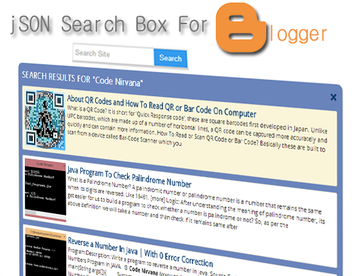 Advanced JSON Search Box Widget For Blogger