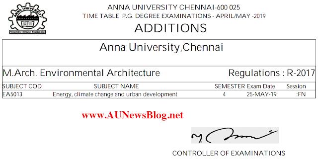 Anna University Nov Dec 2019 Time Table Addition for UG & PG