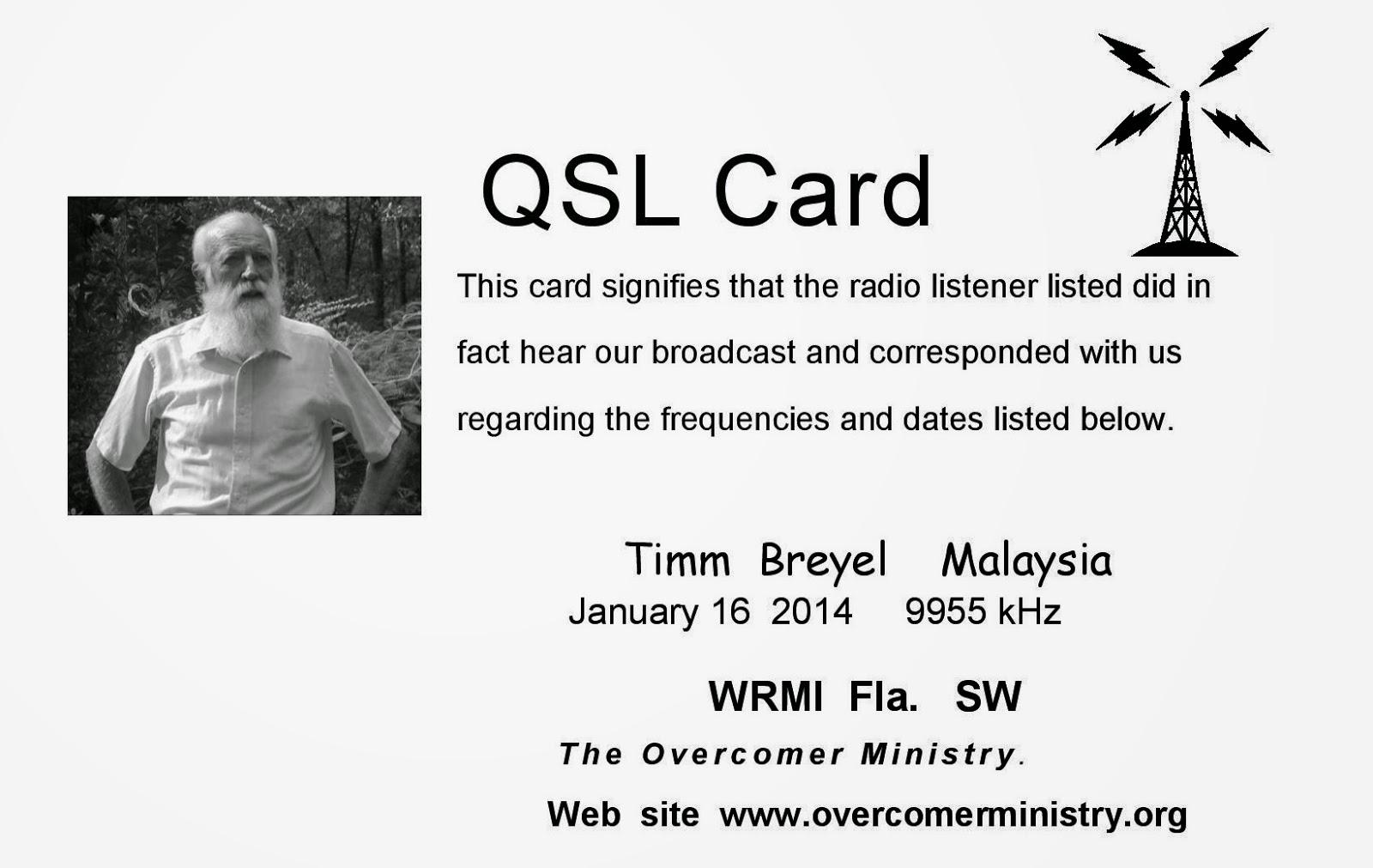 SOUTH EAST ASIA DXING: Overcomer Ministry / WRMI (Okeechobee)