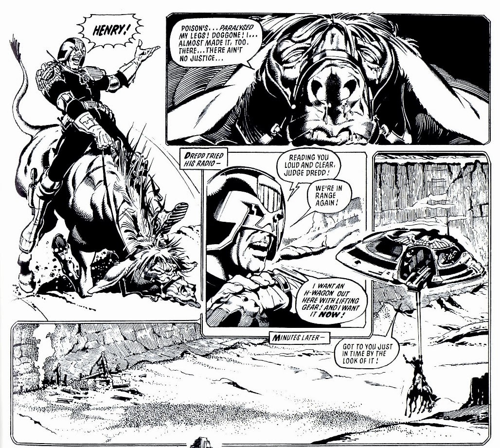 dredd alert january 2014 Will Ford he borrows henry ford and rides for mega city one he destroys h bomb bridge to slow down the spiders he calls for an h wagon with lifting gear to carry