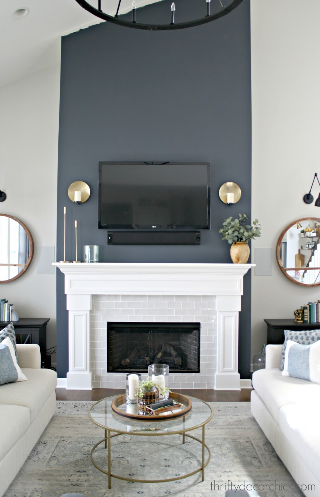 Painting a fireplace wall a dark contrast color