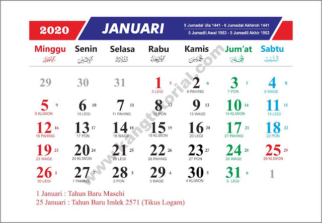 Download Gratis Template Kalender 2020 Lengkap