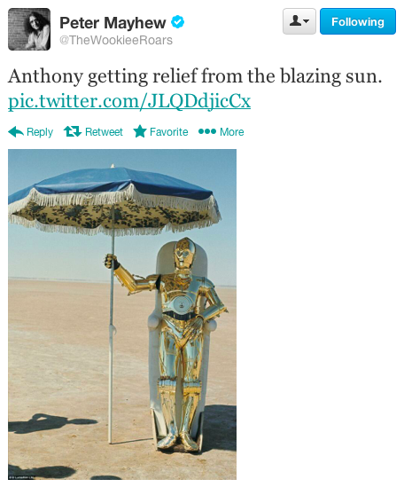 C-3PO hides from the sun