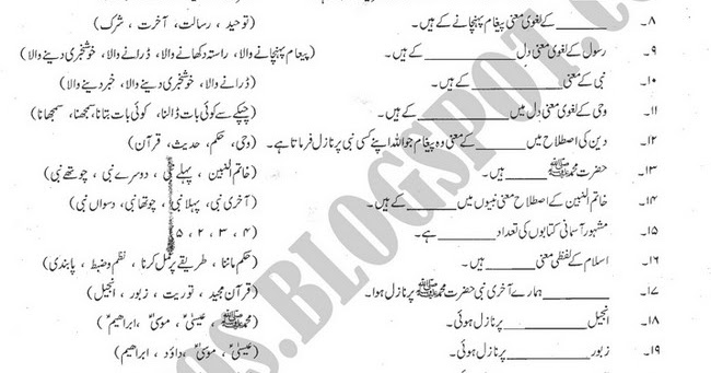 4 MCQ's: islamiat mcqs for xi, HSSC part 1