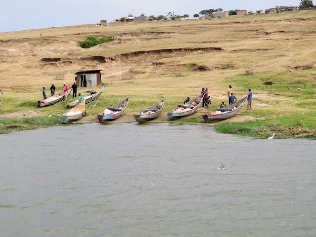 Local Ugandan fisherman preparing to go to work on the Kazinga Channel