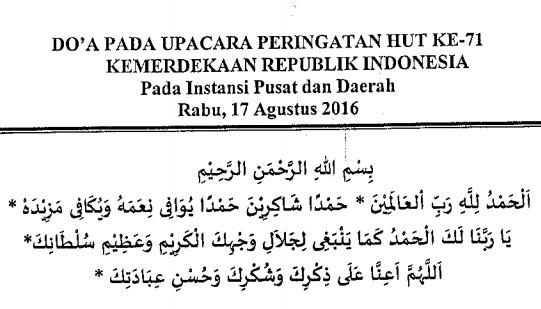 Contoh Naskah Doa pada Upacara Peringatan HUT Kemerdekaan RI  Contoh Naskah Doa pada Upacara Peringatan HUT Kemerdekaan RI