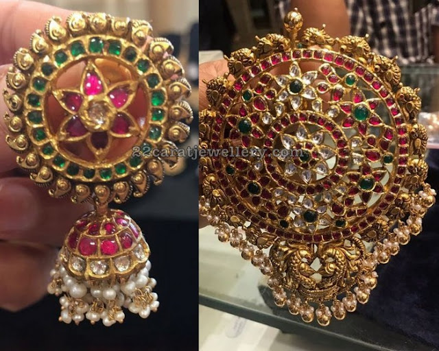 Heavy Pendant with Large Floral Jhumkas