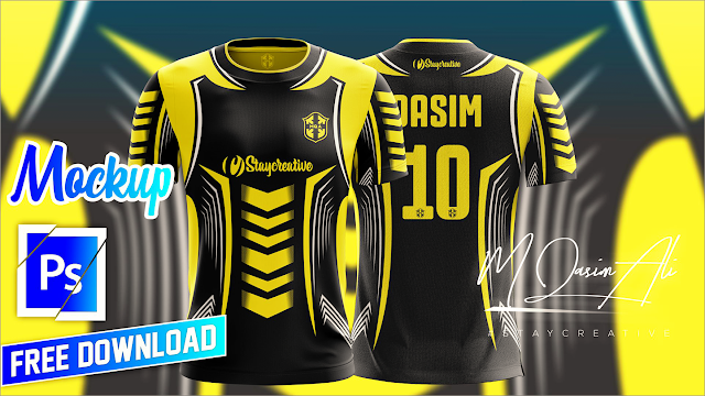 Best Football Shirt Design Tutorial + Free Yellow Image Mockup by M Qasim Ali 2