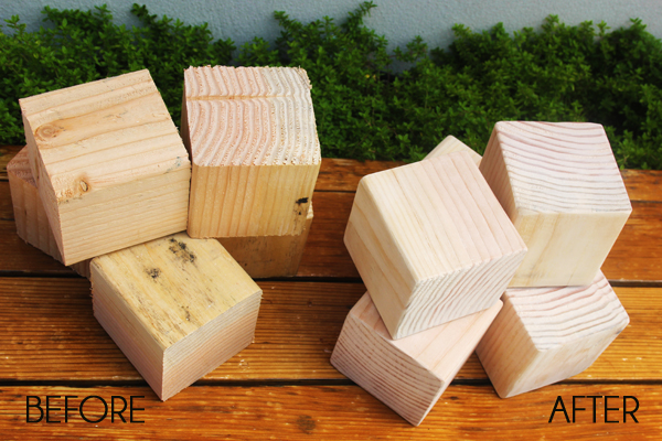 Sanded wood blocks before and after